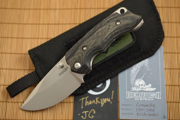 """Dervish Knives """"Comanche"""" Midtech Variant 1, Stabilized Charcoal Dyed Birch Scales (SOLD)"""