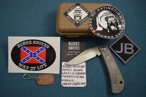 Jim Burke Custom REBEL Slip-Joint Folder, Carved Zirconium Inlays (SOLD)