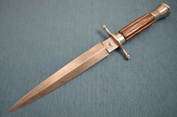 Gary Mulkey Mosaic Damascus Dagger, Snakewood with Silver Wire Inlays