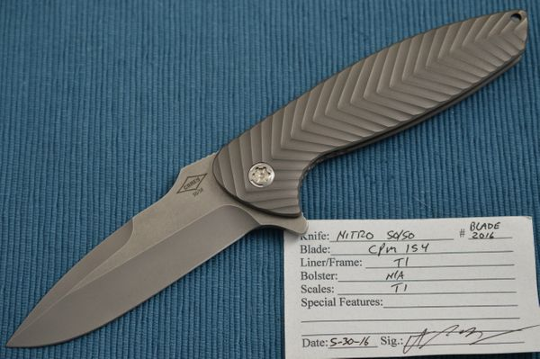 Peter Carey NITRO 50/50 Full Titanium Frame-Lock Flipper