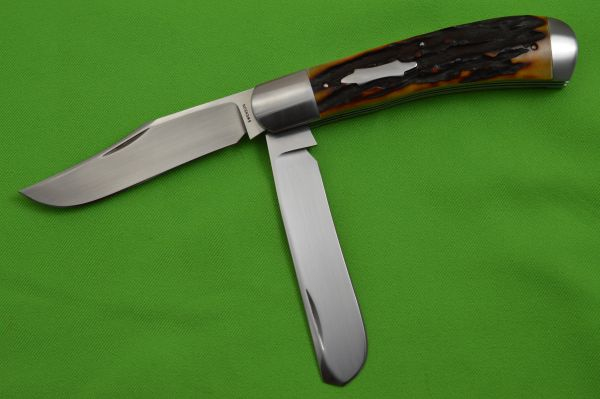 Luke Swenson Large 2-Blade Stag Trapper, Blade Show 2019 (SOLD)