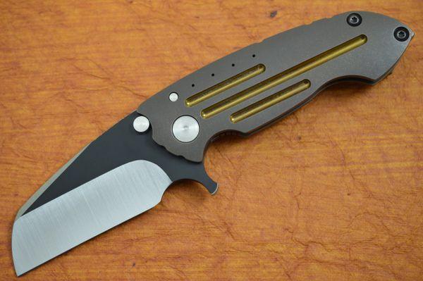 Direware S-90 Flipper, Titanium Frame, CPM-S110V Wharncliffe Blade, Black Ceramic Flats