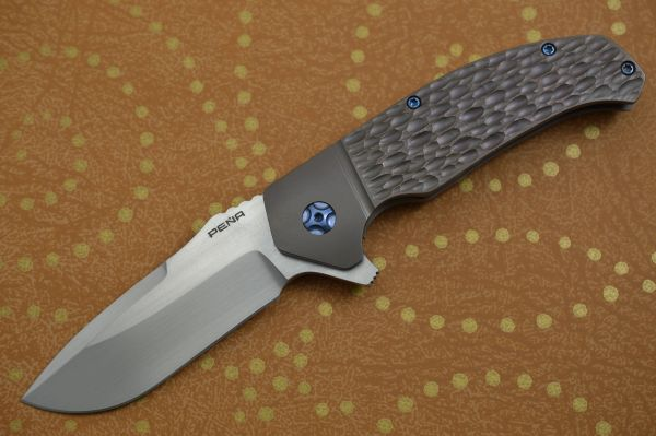 Enrique Peña Custom DIESEL Jigged Bronze Titanium Frame-Lock Flipper (SOLD)