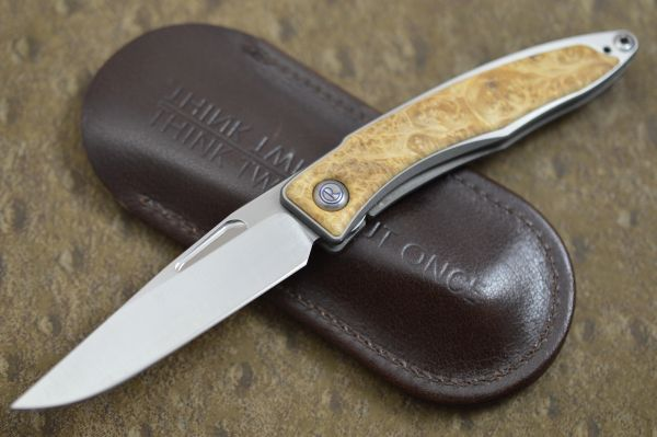 Chris Reeve Mnandi, Box Elder Burl Liner-Lock Folding Knife (SOLD)