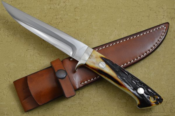 Masao Takahashi Stag Fighting Knife and Leather Sheath