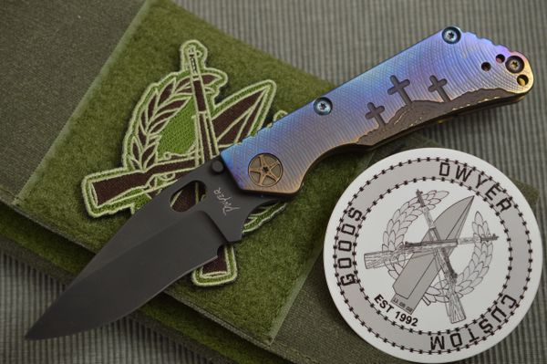 Duane Dwyer DCG DoDM Custom Folding Knife, Three Crosses On The Hill (SOLD)