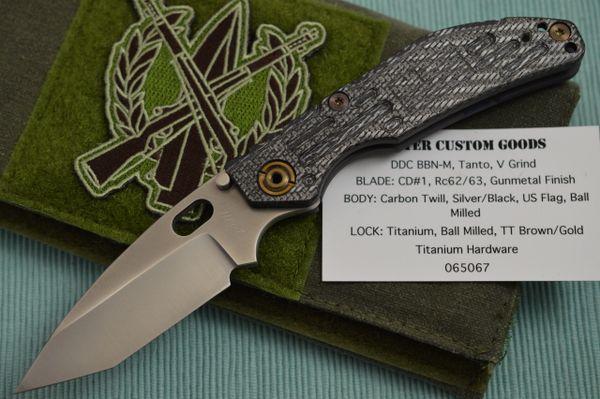 Duane Dwyer DDC BBN-M Custom Folding Knife, Carbon Twill U.S.A. Flag