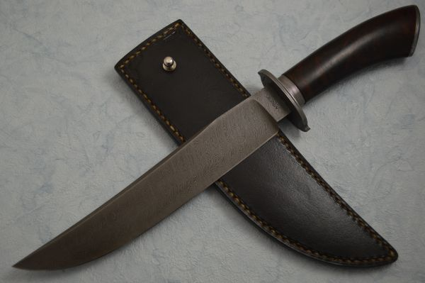 Shawn McIntyre, M.S. Damascus & Desert Ironwood Bowie Knife, Leather Sheath (SOLD)