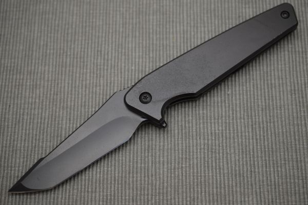 Will Moon Custom Mark 7 Black Cerakoted Frame-Lock Flipper Folding Knife