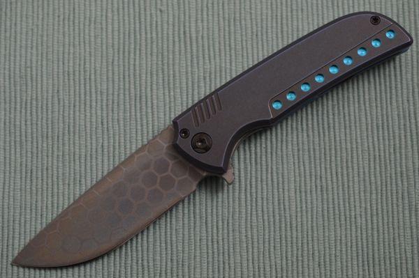 Ferrum Forge One-Off Frame-Lock N-TAC Flipper Folding Knife, SM-100 Hexagonal Anodized Blade, Cerulean Dark Matter Titanium Frame (SOLD)