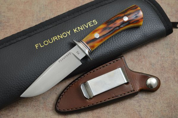 Joe Flournoy M.S. Stag Handle Personal Carry, Rowe Leather Sheath