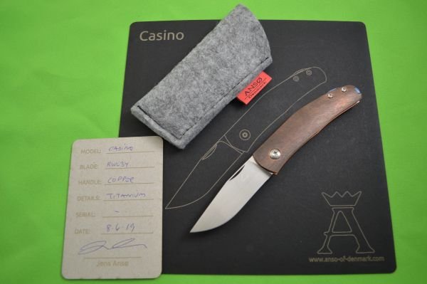 "Jens Anso Slip-Joint ""Casino"", Copper Handle, RWL-34, Blade Show 2019"