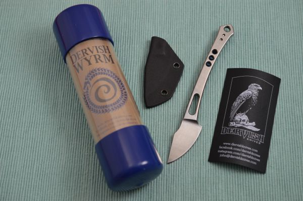 Dervish Knives WYRM Fixed Blade Pocket Knife, AEB-L, Blue Anodized Clip (SOLD)