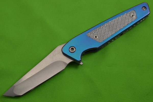 Will Moon Custom Mark 7 Frame-Lock Flipper Folding Knife, Silver Twill Inlay