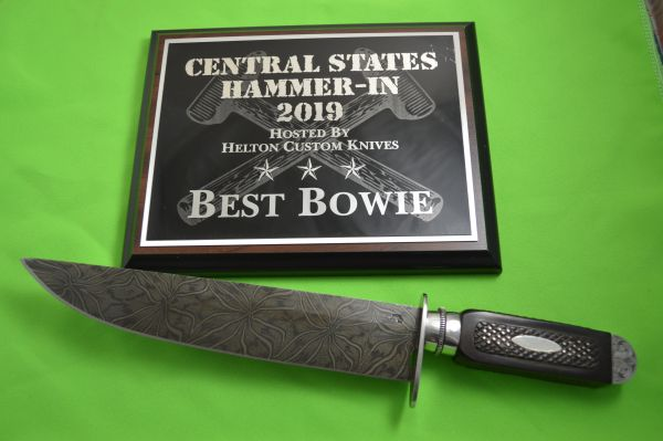 Gary Mulkey Damascus Searles Bowie Knife Reproduction, Best Bowie 2019 Central States Hammer-In (SOLD)