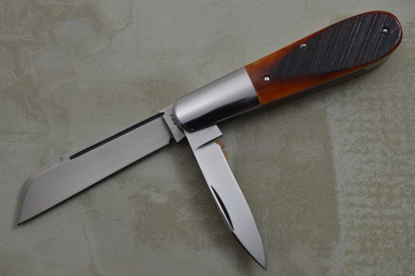Bill Ruple 2-Blade BARLOW, Crosscut Amber Burnt Bone Scales