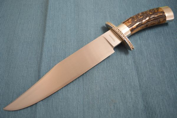 Joe Flournoy M.S. Stag Handle Bowie, Sterling Silver Fittings