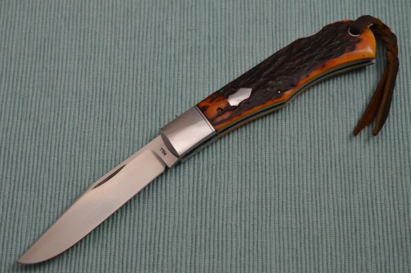 Toby Hill Remington 1306 Lock-Back, Amber Stag Scales