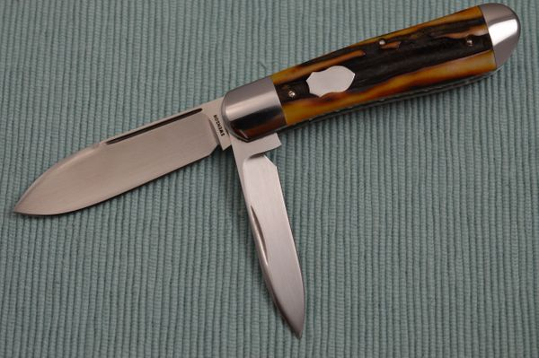 Luke Swenson 2-Blade Stag Jack Knife, File-Worked Liners (SOLD)