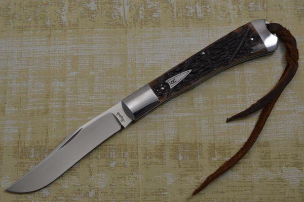 Bill Ruple Jigged Bone Single Blade Trapper, Slip-Joint Folding Knife (SOLD)