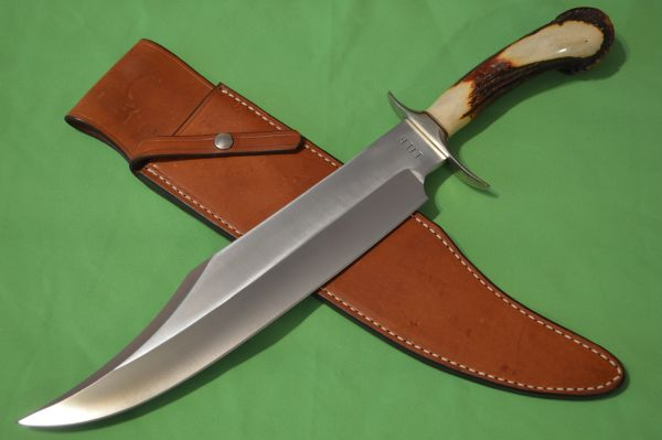 Vintage Jimmy Lile No Dot Massive Crown Stag Bowie Knife