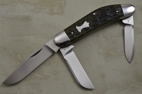 Tony Bose 3-Blade Sowbelly #1, Jigged Bone Slip-Joint Folding Knife (SOLD)