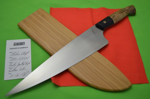 "Michael Zieba Custom Master Chef Knife, 9.125"" CPM-S60V, Curly Spalted Maple Handle"