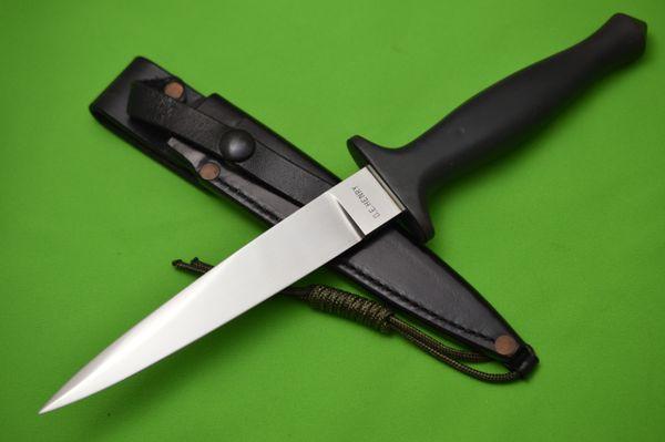 D.E. Henry Model 1 Spearpoint Commando Fighting Knife, Leather Sheath