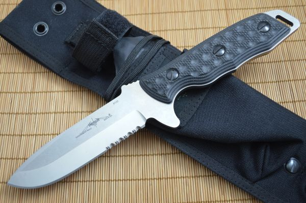Emerson Knives Government Mule SFS Fixed Blade Knife, Partially Serrated, G-10 Handles
