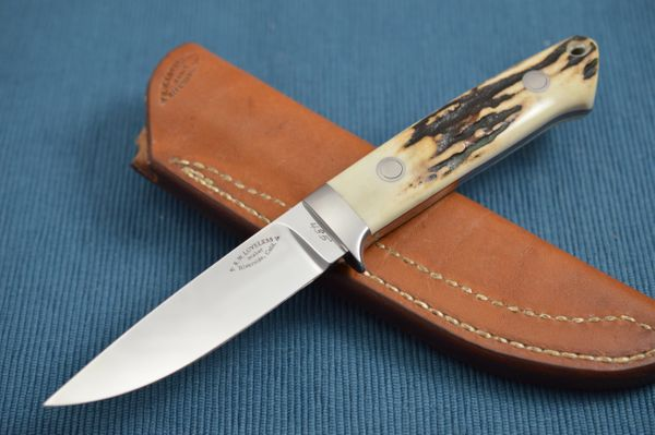 Bob Loveless Stag Hunting Knife #435, Riverside Calif., Leather Sheath