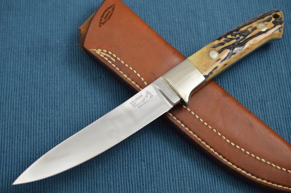 Bob Loveless Large Stag Skinner Knife, Double Nude, Riverside Police Dept. Top Gun 1987, Leather Sheath (SOLD)