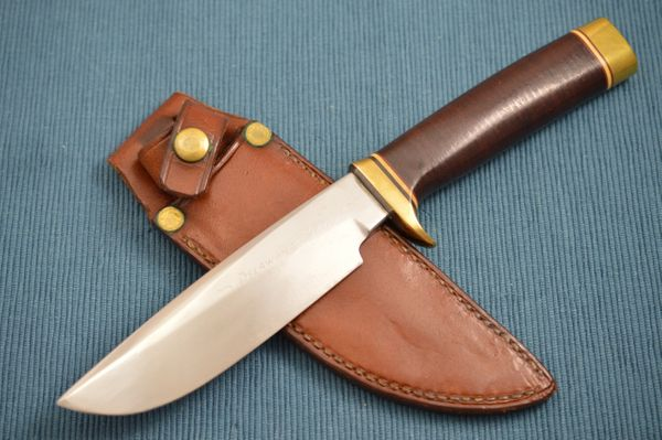 Bob Loveless Stacked Leather Delaware Maid Abercrombie & Fitch Co. Knife, Leather Sheath