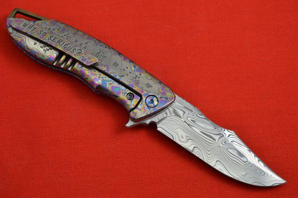 """Michael Zieba Custom S7 Damasteel """"JOKER"""", Laser Etched Frame-Lock Flipper Knife"""