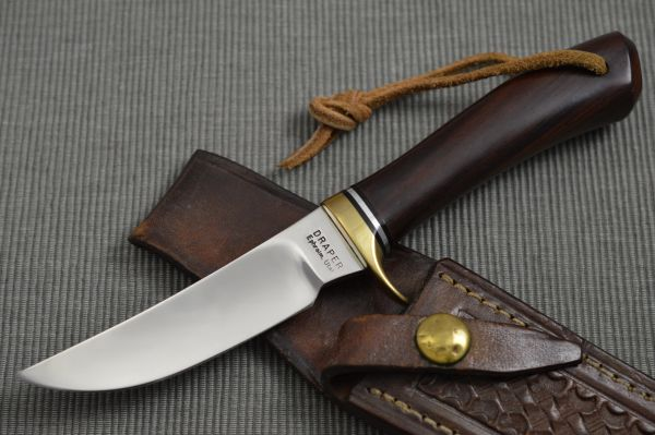 "Harvey Draper ""Cougar"" Hunting Knife and Tooled Leather Sheath"