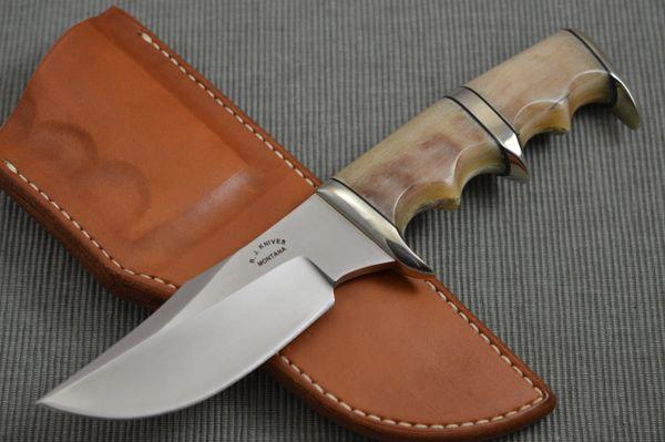 "R.J. Handcrafted Knives ""Beartooth"" Sub Hilt Hunting Knife + Custom Leather Sheath"