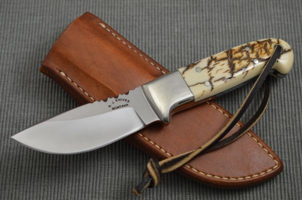 "R.J. Handcrafted Knives ""Fossil"" Hunting Knife + Custom Leather Sheath"