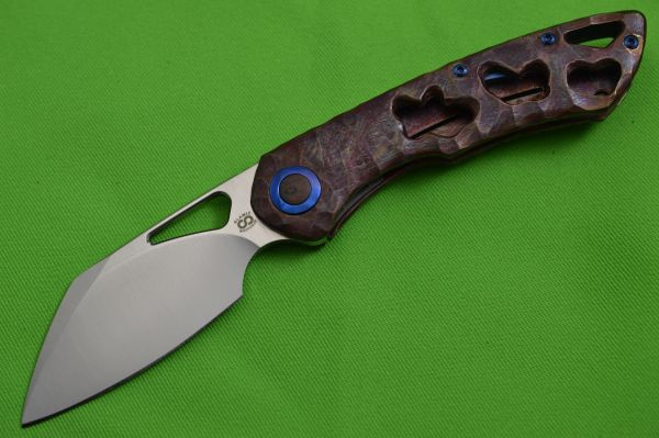 Olamic Cutlery WHIPPERSNAPPER, Antique Entropic Finish, 20CV Sheepsfoot Blade