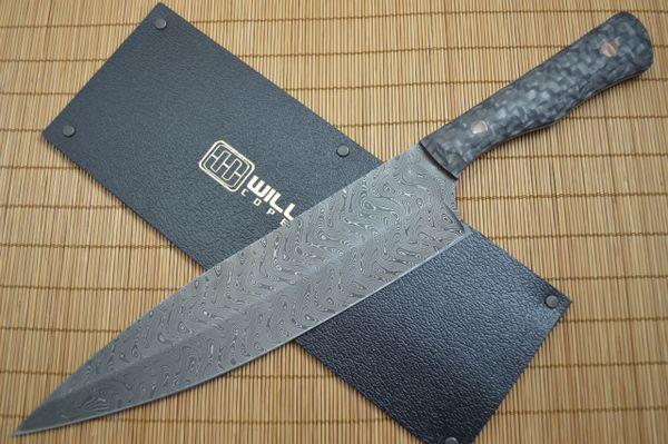 Mikkel Willumsen Urban Tactical Custom Chad Nichols Damascus Chef's Knife
