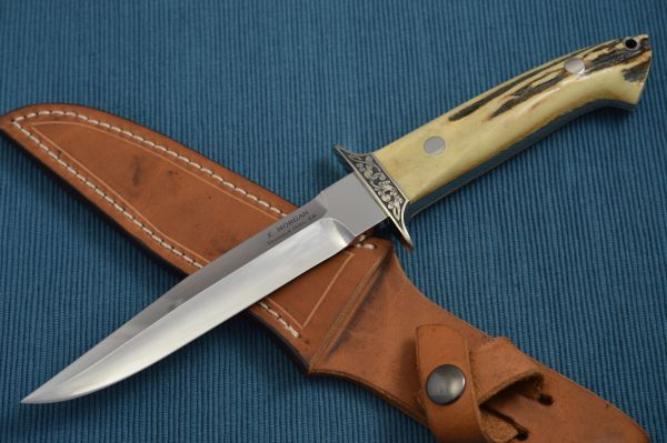 Emil Morgan Stag Loveless-Style Engraved Fighting Knife