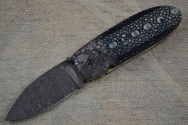 "R.B. Johnson Stingray and Damascus ""Sunfish"" Liner Lock Folder (SOLD)"