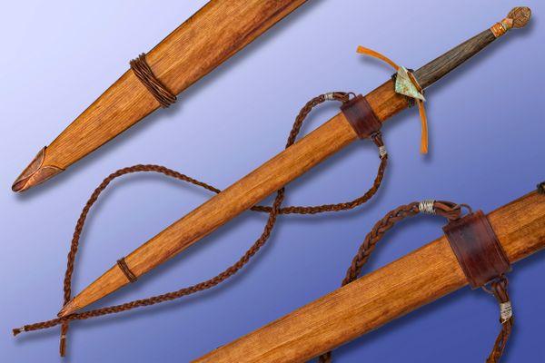 "Scott Roush ""The Gift Of The Ghillie Dhu"" Damascus Sword, Wood Scabbard"