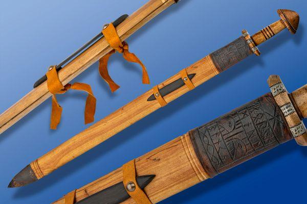 Scott Roush Damascus Viking Sword, Cherry / Gaboon Ebony Wood Scabbard