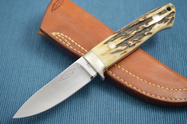 Bob Loveless Stag Semi Skinner Knife #966, Riverside Calif., Leather Sheath