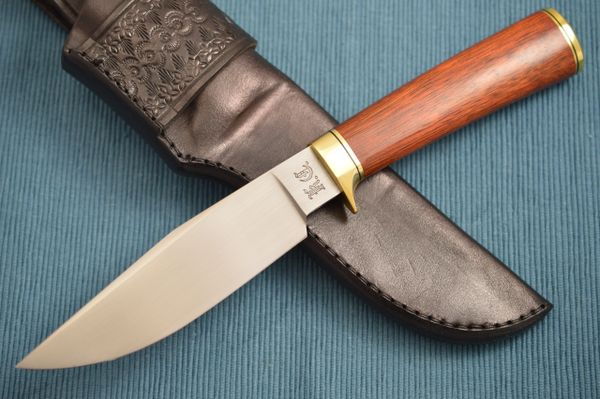 Kevin Cashen M.S. Clip Point Bloodwood Hunter, Leather Sheath