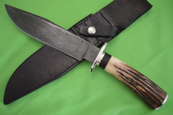 Kevin Cashen M.S. Large Stag Damascus Bowie Knife, Leather Sheath