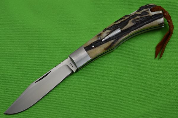 Toby Hill Lock-Back Trapper, Stag Scales, File-Worked Liners (SOLD)