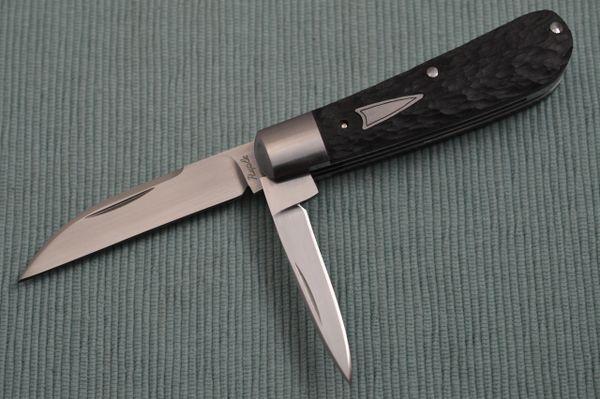 Bill Ruple Hand Jigged Black Micarta 2-Blade Swayback Jack, Slip-Joint Folding Knife (SOLD)