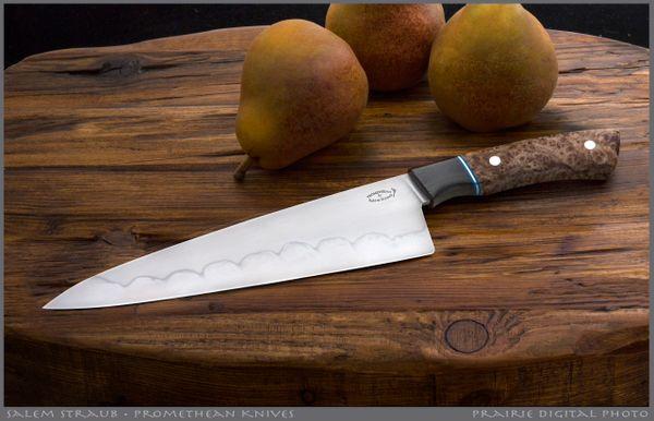 Salem Straub Gyuto Chef's Knife, Stabilized Burl, Aldo's W2 Hamon