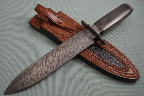 John White, MS Damascus Dagger, Ancient Fossilized Scales