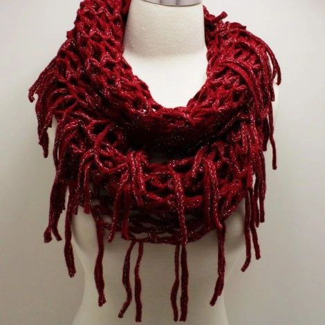 Red Acrylic Fringed w/ Silver Metallic Linen Infinity Scarf